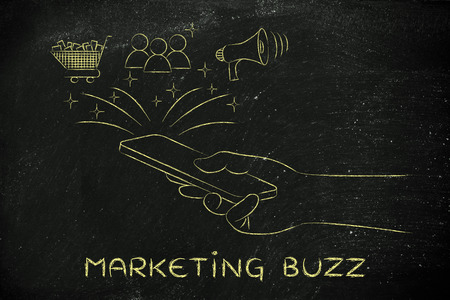 buzz: marketing buzz: smartphone with shopping cart, users & megaphone coming out of the screen