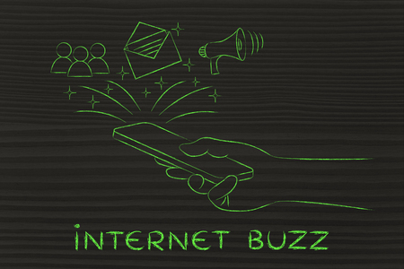 buzz: internet buzz: smartphone with email, user icon & megaphone coming out of the screen