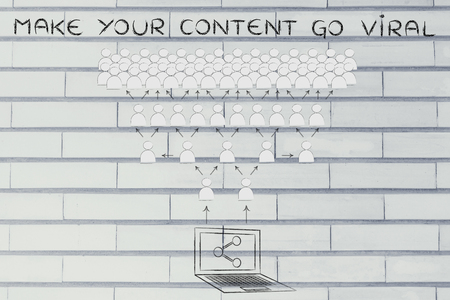 make your content go viral: laptop with share icon and crowd