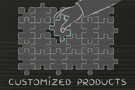 completing: Customized Products: metaphor of hand completing a puzzle