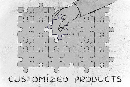 complete solution: Customized Products: metaphor of hand completing a puzzle