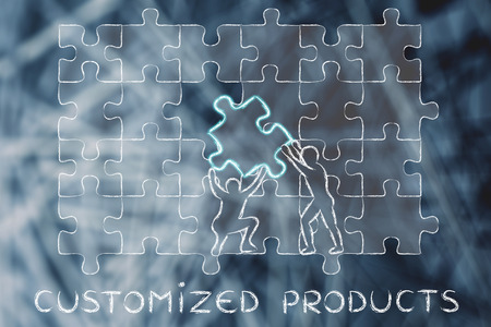 customized: Customized Products: metaphor of men completing an oversized puzzle