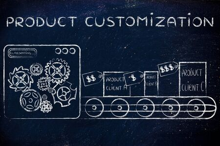 customization: Product Customization: factory machine producing different unique items Stock Photo