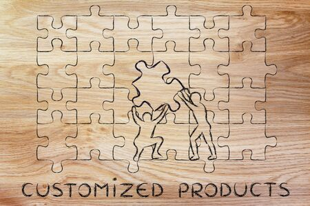 completing: Customized Products: metaphor of men completing an oversized puzzle