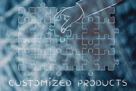 customized: Customized Products: metaphor of hand completing a puzzle