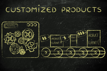 Customized Products: factory machine producing different unique items
