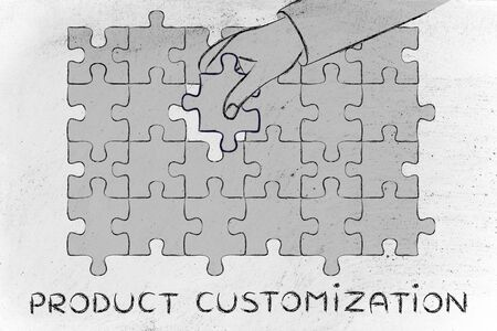 complete solution: Product Customization: metaphor of hand completing a puzzle