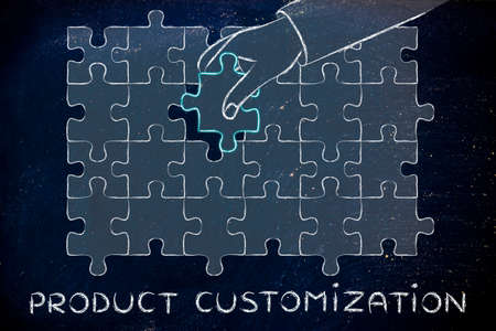 customization: Product Customization: metaphor of hand completing a puzzle