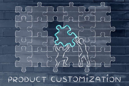 customization: Product Customization: metaphor of men completing a huge puzzle