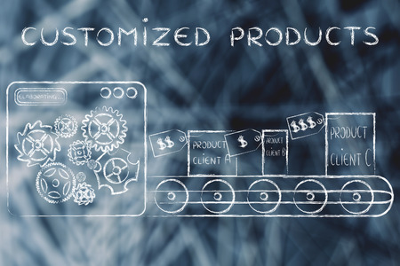 out of production: Customized Products: factory machine producing different unique items