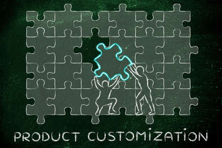 completing: Product Customization: metaphor of men completing a huge puzzle