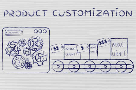 Product Customization: factory machine producing different unique items Stock Photo