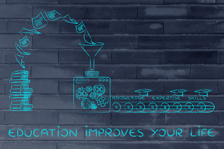 master degree: Education improves your life: machine elaborating books into knowledge, expertise & skills