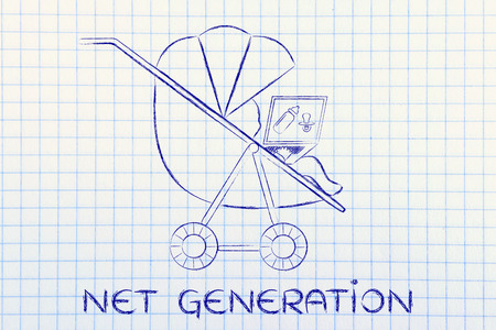 Net Generation: young child in a stroller holding laptop with dummy & bottle on the screen