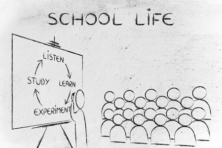 school life: La vida escolar: Escritura del profesor escuchar, aprender, experimentación, estudio frente a su salón de clases