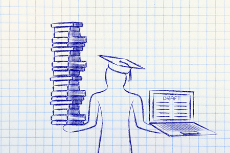 dissertation: Graduate students holding a big stack of books and laptop with dissertation draft