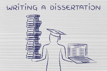 dissertation: Writing a dissertation: graduate students holding a big stack of books and laptop with thesis draft Stock Photo