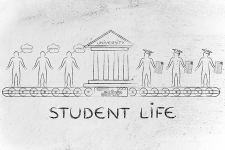 enrolled: Student life: machine turning enrolled students with dreams and motivation into graduates Stock Photo
