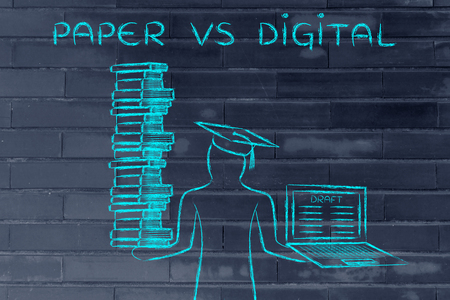 dissertation: Paper vs Digital: graduate students holding a big stack of books and laptop with dissertation draft Stock Photo
