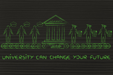 enrolled: university & future: machine turning enrolled students with dreams and motivation into graduates