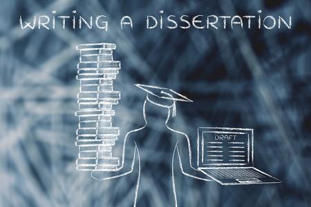 Escribir una tesis: estudiantes graduados que sostienen una gran pila de libros y un ordenador portátil con el proyecto de tesis Foto de archivo