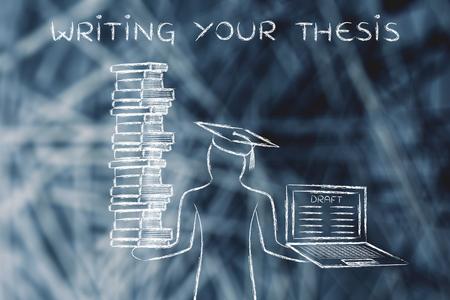La escritura de su tesis: estudiantes graduados que sostienen una gran pila de libros y un ordenador portátil con el proyecto de tesis