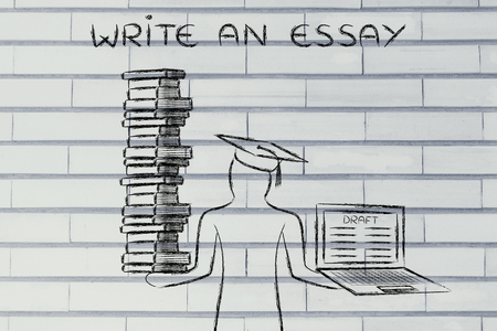 essay: Write an essay: graduate students holding a big stack of books and laptop with dissertation draft
