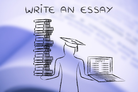 dissertation: Write an essay: graduate students holding a big stack of books and laptop with dissertation draft