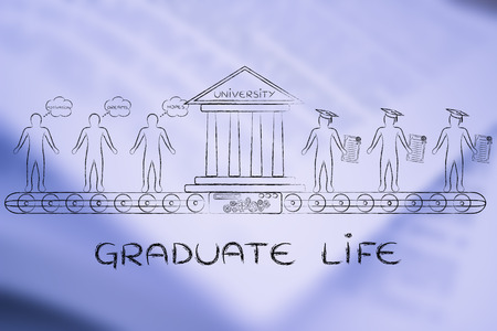 enrolled: Graduate life: machine turning enrolled students with dreams and motivation into graduates Stock Photo
