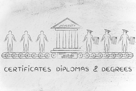enrolled: Certificates, diplomas & degrees: metaphor of university machine turning enrolled students into graduates
