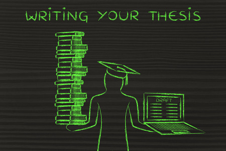dissertation: Writing your thesis: graduate students holding a big stack of books and laptop with dissertation draft Stock Photo