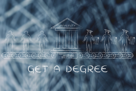 enrolled: get a degree, metaphor of university machine turning enrolled students into graduates
