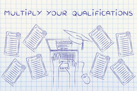 multiplicar: Multiplicar sus calificaciones: estudiante de e-learning con un montón de grados en su escritorio Foto de archivo