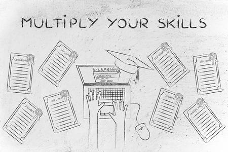 multiplicar: Multiplicar sus habilidades: estudiante de e-learning con un montón de grados en su escritorio