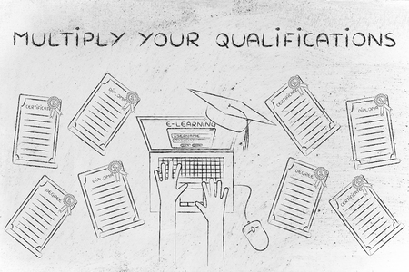 qualifications: Multiply your qualifications: e-learning student with plenty of degrees on his desk Stock Photo