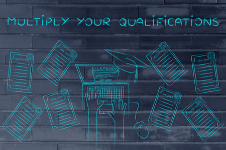 multiply: Multiply your qualifications: e-learning student with plenty of degrees on his desk Stock Photo