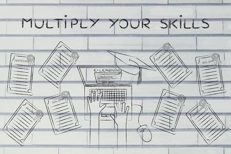 multiplicar: Multiplicar sus habilidades: estudiante de e-learning con un mont�n de grados en su escritorio