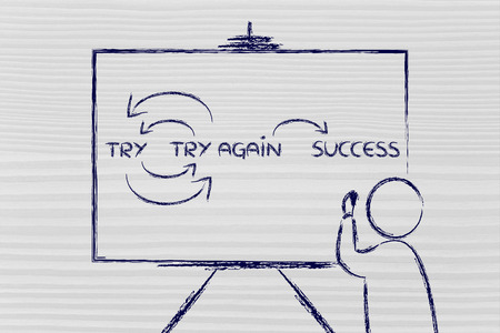to try: Try, try again, success: teacher or speaker writing diagram on blackboard Stock Photo