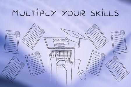 multiply: Multiplicar sus habilidades: estudiante de e-learning con un mont�n de grados en su escritorio