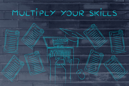 multiply: Multiply your skills: e-learning student with plenty of degrees on his desk Stock Photo