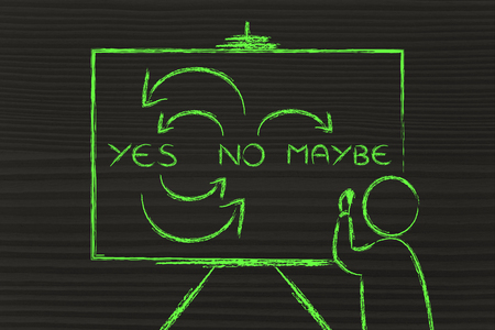 maybe: Person writing Yes, No, Maybe on blackboard Stock Photo