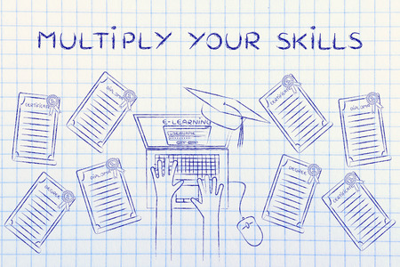 multiplicar: Multiply your skills: e-learning student with plenty of degrees on his desk Foto de archivo
