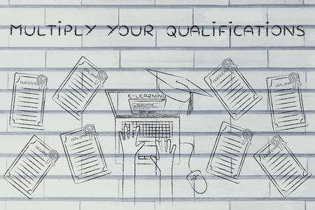 multiply: Multiplicar sus calificaciones: estudiante de e-learning con un mont�n de grados en su escritorio Foto de archivo