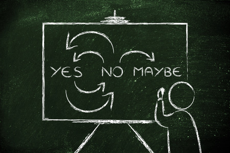 person writing: Person writing Yes, No, Maybe on blackboard Stock Photo