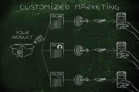 customized: customized marketing: offers for the same product based on customer profiling Stock Photo
