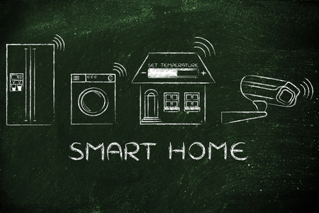 security technology: Smart home technology: appliance, temperature settings and security camera communicating signals
