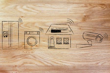 ホーム オートメーションと物事のインターネット: アプライアンス、温度設定、信号の通信セキュリティ カメラ 写真素材
