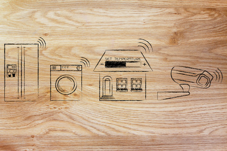 home automation and internet of things: appliance, temperature settings and security camera communicating signals