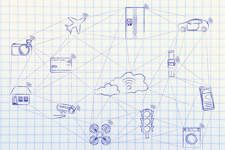internet user: internet of things, smart connected objects communicating over a network (hand drawn low-poly inspired)