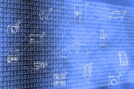 Internet de las cosas, los objetos inteligentes conectados comunican a través de una red (dibujado a mano bajo poli inspirado) Foto de archivo - 52501929